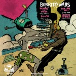 "Back cover for the ""Burrito Wars"" 7"" comp on La Escalera."