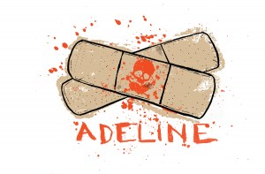 Front of double-sided shirt design for ADELINE RECORDS.